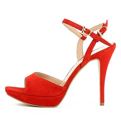 Rouge femme Valeria pour Evita Sandales Shoes I7qOOX