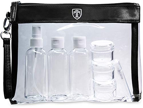 Airport Travel - TSA Approved Clear Toiletry Bag with 7 Bottles (max.3.38oz) | Liduid Travel Set | Transparent Zipper Bag for Cosmetics | Plastic PVC Airport Airline Security Luggage Organizer Pouch Wash Kit TRAVANDO