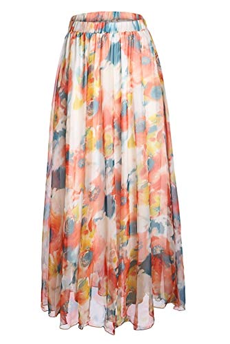 Pretchic Women's Blossom Floral Print Chiffon African Maxi Long Skirt Orange XX-Large