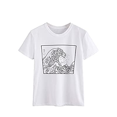 ROMWE Women's Short Sleeve Top Casual The Great Wave Off Kanagawa Graphic Print Tee Shirt: Clothing