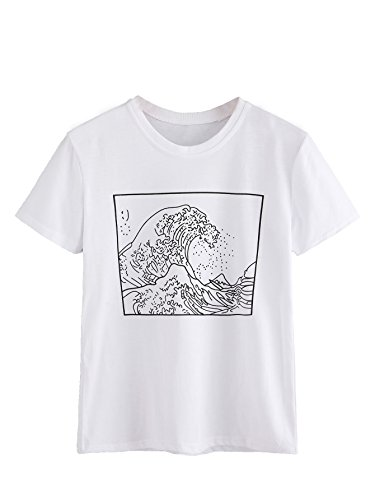 ROMWE Women's Short Sleeve Top Casual The Great Wave Off Kanagawa Graphic Print Tee Shirt White