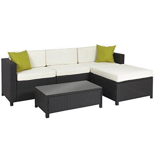 - 5PC Rattan Wicker Aluminum Frame Sofa Set Cushioned Sectional Outdoor Garden Patio Furniture