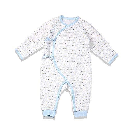 (i-baby Premium Matelasse PIMA Cotton Baby Romper Cashmere Like Cotton Outfit Long Sleeve Newborn Bodysuit, Packed in Nice Box (Blue, 0-3)
