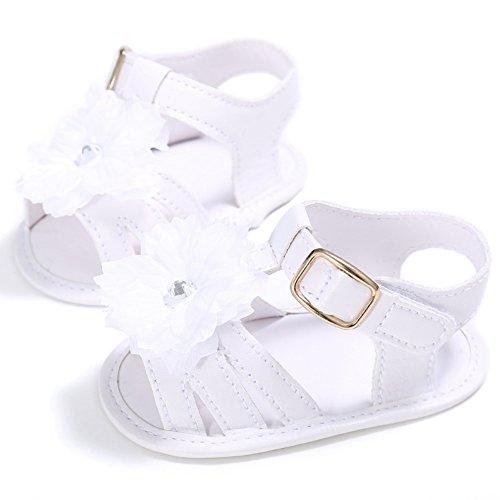 BOBORA Verano Las Muchachas Del Bebe Zapatos Sandalias Infantil Flor hueco Primer Caminantes blanco
