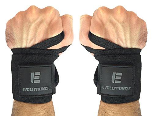 Evolutionize Medium Stiff Wrist Wraps, 18 Inch - Black