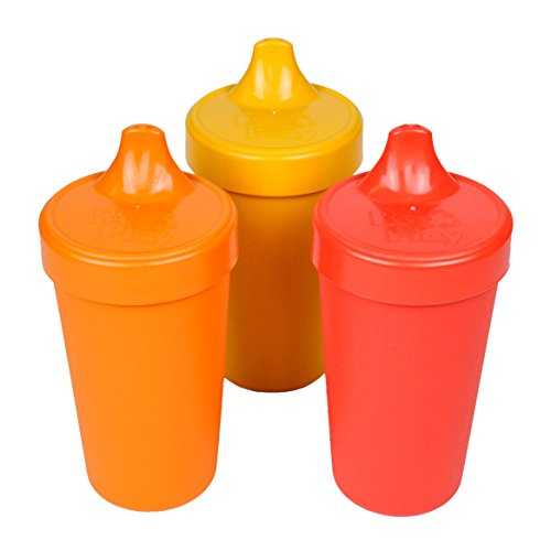 Re-Play Made in the USA 3pk No Spill Sippy Cups for Baby, Toddler, and Child Feeding - Orange, Sunny Yellow, Red (Fall) Durable, Dependable and Toddler Tough