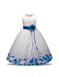 0.5-7 Years Old Bridesmaid Pageant Tutu Tulle Gown Party Wedding Dress,Woaills Flower Girl Princess Clothes (Blue B, 7T)