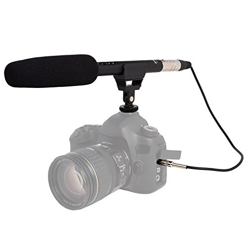 LyxPro CMG-50 Condenser Shotgun Microphone Battery or Phantom Power with Impedance Matching Transformer Cable, for Professional Film, Video DSLR Camera Camcorder Television TV