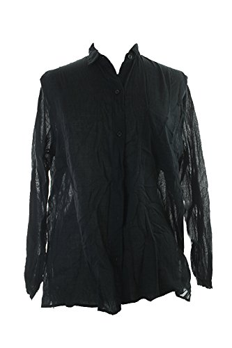 Denim & Supply Ralph Lauren Womens Oversized Semi-Sheer Button-Down Top Black - Ralph Friday Polo Black Lauren