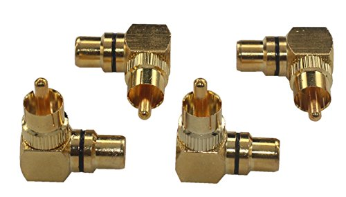 KK-04 [4 Pack] 4pcs total, Hi-end High-Quality RCA Right Angle Adapter - 90° Female to Male, Gold-Plated Connector KK-04
