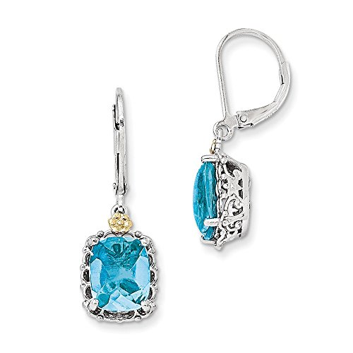 Sterling Silver w/14k Blue Topaz Earrings by CoutureJewelers