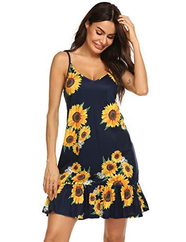 Women's Adjustable Strap Bohemian Vintage Floral Printed Short Dress Ruffles Hem A Line Swing Draped Skirt Navy Blue