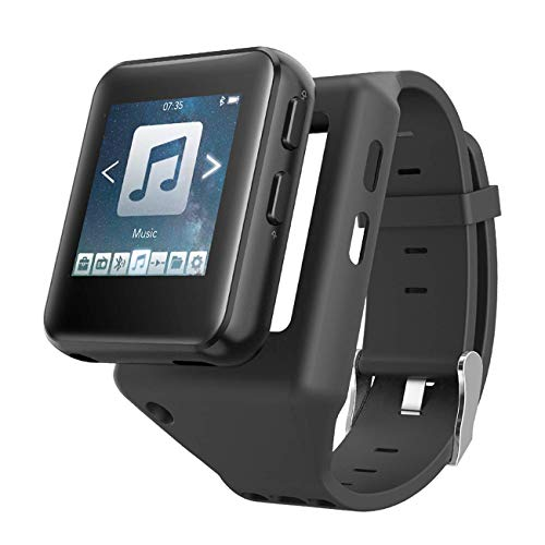 AGPTEK 16GB Clip MP3 Player with Watch Strap, Sport Bluetooth Mp3 Wearable Music Player for Running, Jogging, Cycling, Hiking Support Recording, FM Radio, Pictures, Video and Stopwatch
