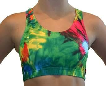 GemGear Tie Dye Print Raser Sports Bra, TD1 (Blast Tie Dye) Extra Small