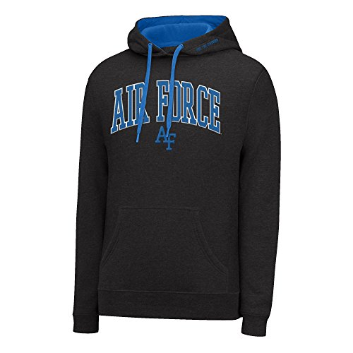 NCAA Air Force Falcons Men's Single Dye Arched School Name Twill Hoodie, Small, Black HTR/Royal (Air Force Single)