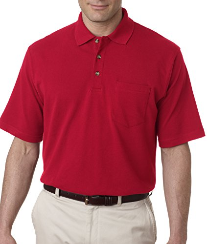 UltraClub Men's Classic Pique Polo Short Sleeve Shirt with Pocket, Small - Red