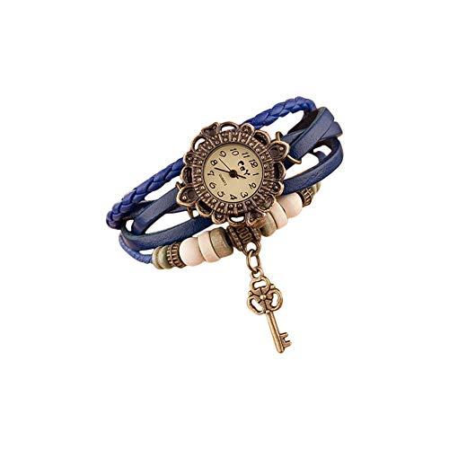 Hosaire Watch Bracelet Vintage Multilayer Weave Wrap Around Leather Chain Bracelet Quartz Wrist Watch with Key Pendant for Women Black
