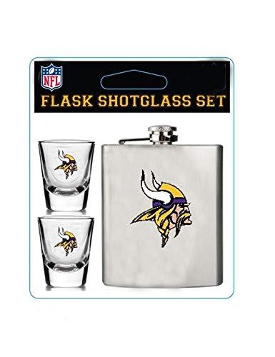 Pro Specialties Group NFL Minnesota Vikings Unisex Shot Glasses & Brushed Stainless Steel Flask Setshot Glasses & Brushed Stainless Steel Flask Set, Silver, 8
