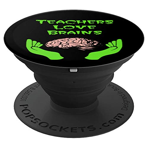 Halloween Creepy Font Teacher Love Brains - PopSockets Grip and Stand for Phones and -