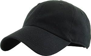 KBETHOS KB-Low Blk Classic Cotton Dad Hat Adjustable Plain Cap. Polo Style Low Profile (Unstructured) (Classic) Black Adjustable