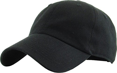 Cotton Buckle Cap Closure (KB-Low BLK Classic Cotton Dad Hat Adjustable Plain Cap. Polo Style Low Profile (Unstructured) (Classic) Black Adjustable)