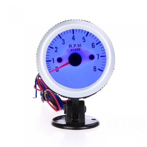 """KKmoon Tachometer Tach Gauge with Holder Cup for Auto Car 2"""" 52mm 0~8000RPM Blue LED Light for 4,6,and 8 Cylinder Automobile Engine Silver"""