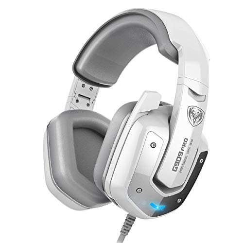 SOMIC G909PRO Gaming Headset,7.1 Virtual Surround Sound USB Over Ear Bass Headphone for PS4,PC with Mic,Volume Control,LED(White) ()