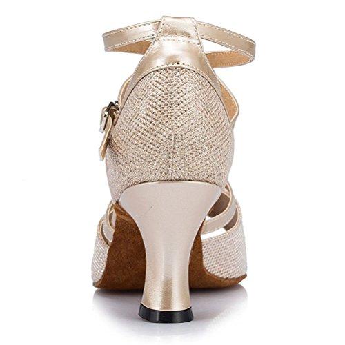 Misu Women's Peep toe Sandals Latin Salsa Tango Practice Ballroom Dance Shoes with 3.1