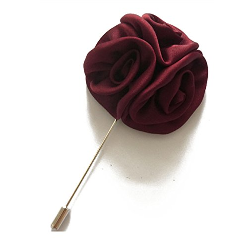 Lapel Stick (Sunny Home Men's Rose Floral Lapel Stick Handmade Boutonniere Lapel Pins for Suit (Wine Red))