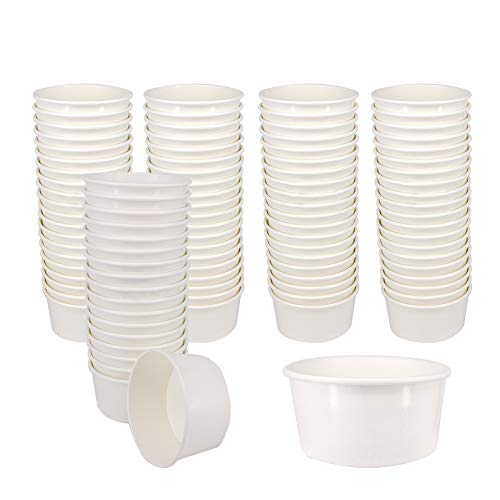 Belinlen 100 Count 6 OZ Disposable White Ice Cream Cups Medium Hot and Cold To Go Cups Paper Cup Takeout Food Container]()