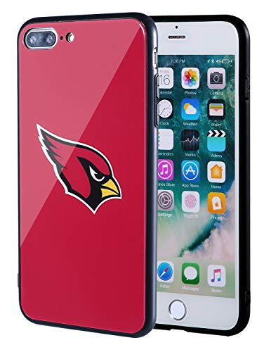 Sportula NFL Phone Case - 9H Tempered Glass Back Cover and Silicone Rubber Bumper Frame Compatible Apple iPhone 8 Plus / 7 Plus (Arizona Cardinals)