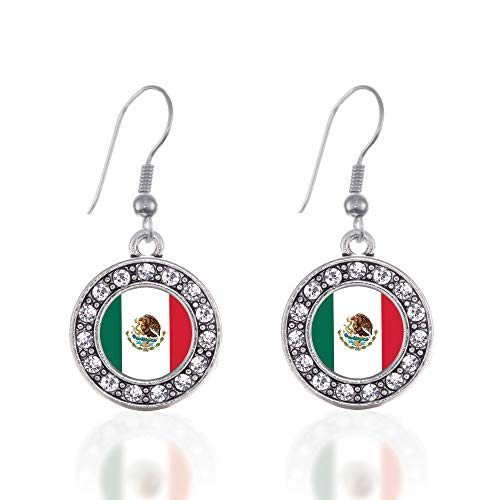 Inspired Silver - Mexican Flag Charm Earrings for Women - Silver Circle Charm French Hook Drop Earrings with Cubic Zirconia Jewelry