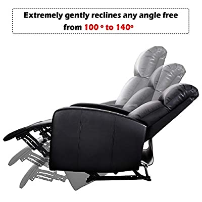 MD Group Black PU Leather Recliner Chair Sofa