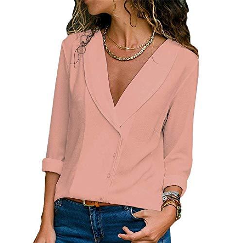 Style Rosa Dimensione M lunghe con abbottonata lunghe Autumn Nero di a maniche Camicia chiffon maniche Srping in Colore FuweiEncore qBUT7xT
