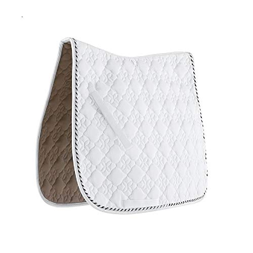 Roma Ecole Flower Diamond Dressage Saddle Pad - White/black/silver, Full