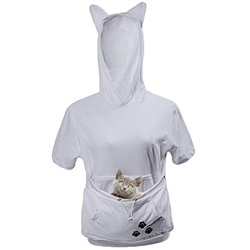 Discount Lucky Shop1234 Women Kangaroo Pouch Carriers Pullover Large Pocket Hoodies Pet Holder Short Sleeve Sweatshirt for sale