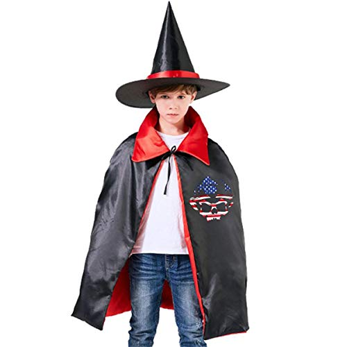 Wodehous Adonis Firefighter American Flag Skull Kids Halloween Costume Cape Witches Cloak Wizard Hat -