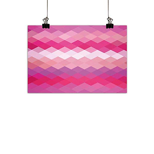 duommhome Hot Pink Light Luxury American Oil paintingCubism Inspired Modern Art Design with Vibrant Colored Diamonds Print Home and everythingPink Peach Fuchsia 47