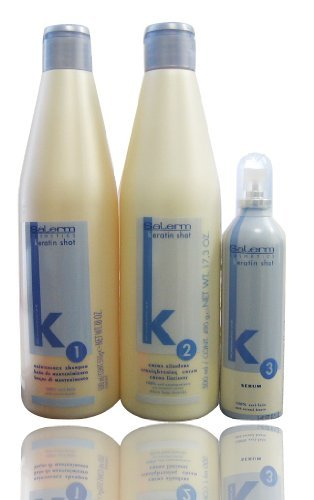 "Salerm Keratin Shot 1 Maintenance Shampoo & 2 Straightening Cream & Serum ""Set"""