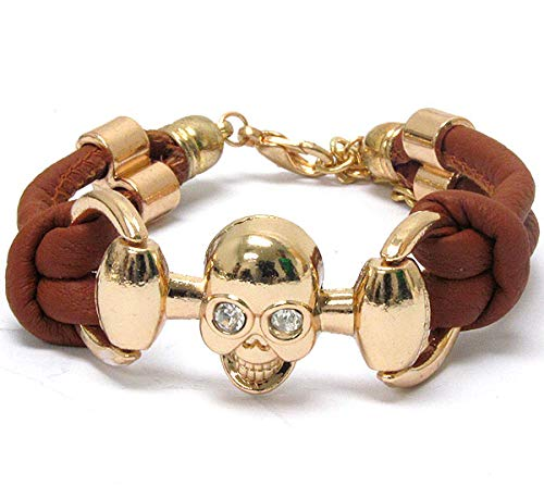 Fashion Jewelry ~ Skull Halloween Leatherette Band Bracelet Brown