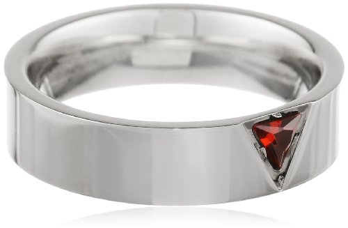 Star Trek Stainless Steel Red Trillium Crystal Ring