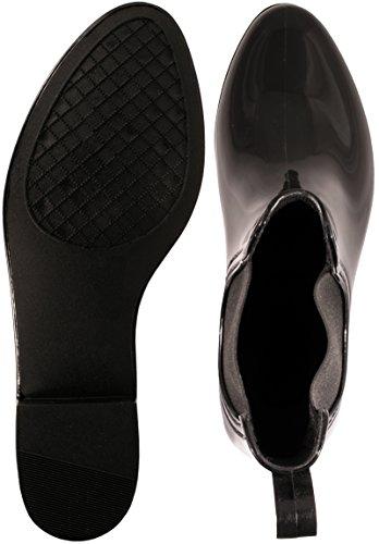 Elara Damen Gummistiefel   Bequeme Lack Stiefeletten   Chelsea Boots Schwarz 2 Ws5cIwhvs