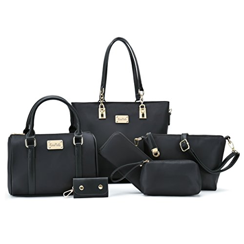 Women Shoulder Bag Tote Bag for Work Handbag and Purse 6 Piece Set Bag (Black-4)