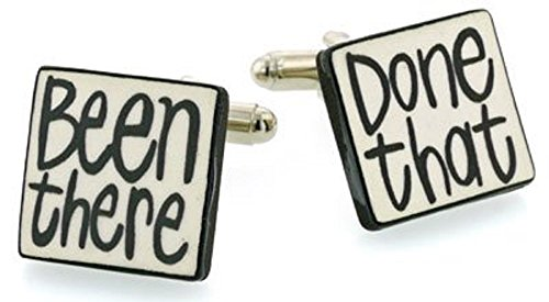 Ceramic Been There Done That Cufflinks. Made in England (Mens Cufflinks Ceramic)