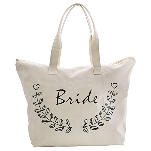 ElegantPark Bride Tote Bag for Wedding Bridal Shower Gifts Zip Canvas Cotton