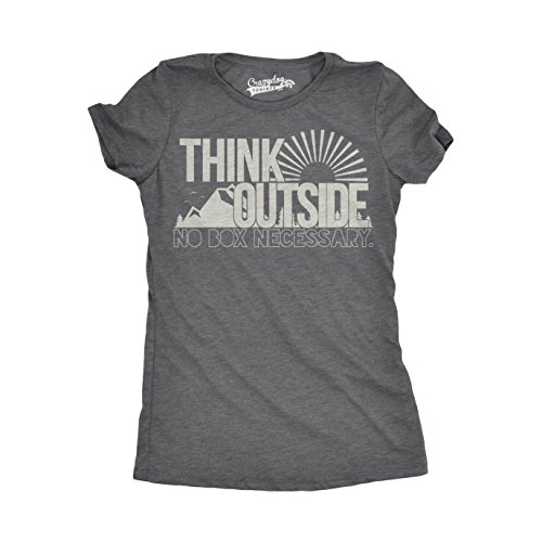 Womens Think Outside No Box Necessary Funny Outdoor Nature T Shirt (Dark Heather Grey) - XXL
