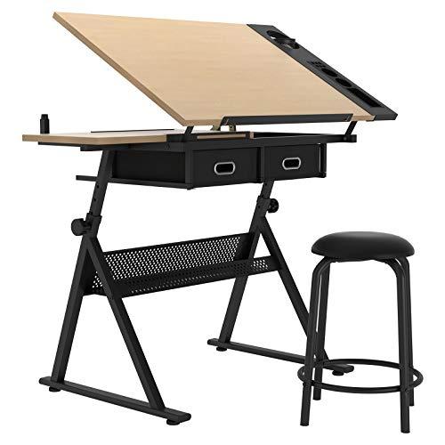 DlandHome Mesa De Dibujo Con Taburete Escritorio De Dibujo Profesional Para Arquitectos Y Técnicos Bandeja De…