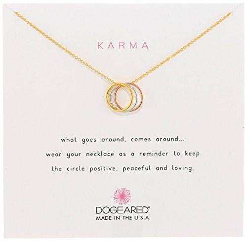Dogeared 'Karma' Collar de tres anillo amarillo y oro rosa-plateado plata esterlina, 18 '