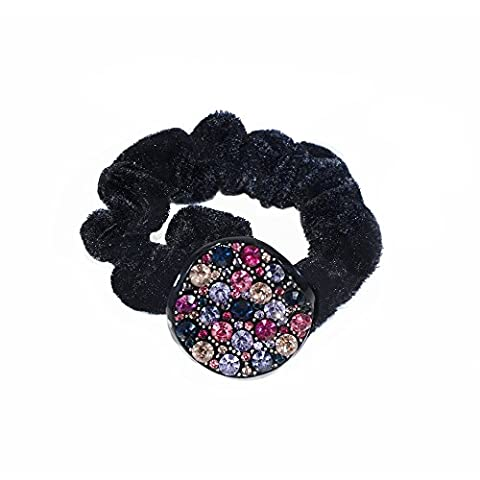 Twinkle Hair Accessories - Crystal Scrunchies - Circle X 1 (Multicolored Dark) - Dark Sky Chain
