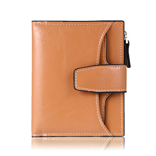 FT FUNTOR RFID Leather Wallet for women,Ladies Small Compact Bifold Pocket Wallet with id Window Apricot Light - Ladies Leather Womens